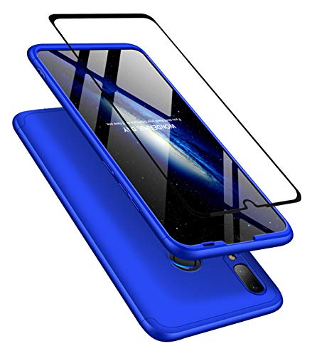 JOYTAG Kompatibel Huawei P30 Lite/Nova 4e Hülle 360 Grad Blau + Hartglas Glasfilm Schutzfolie Ultra dünn Alles inklusive Schutz 3 in 1 PC Telefon Cover case-Blau