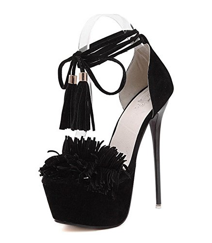 Aisun Femme Sexy Bout Ouvert Franges Lacets Croisés Sandales Noir