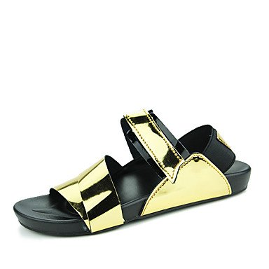 Herren Sandalen Sommer PU Casual flachem Absatz Schnalle Schwarz Silber Gold Wasser Schuhe Golden