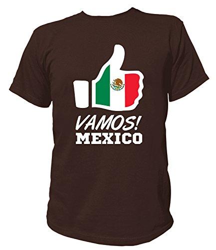 Artdiktat Herren T-Shirt - Like WM 18 - Vamos Mexico - Russia Russland Größe M, Braun