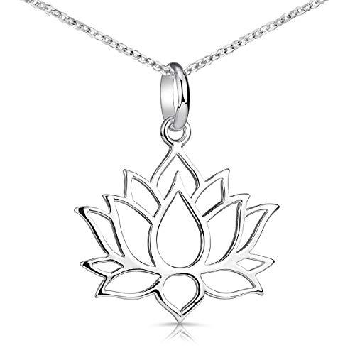 MATERIA Lotusblüte Kette Silber 925 - Lotus Schmuck Lotusblume Halskette Damen Teenager nickelfrei KA-69_K30-45cm