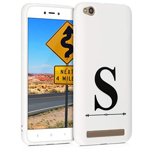 kwmobile Funda para Xiaomi Redmi 5A - Carcasa de [TPU] para móvil y diseño Letra S en [Negro/Blanco]