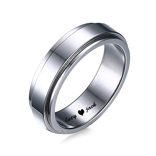Moderne Marken Schmuck Kostüm - XBYEE Personalisierte Titanstahlmens Spinner Ring in Silber Ton Hochzeit Marken 6mm Customized Name ID Verlobungs Party Ringe Mens