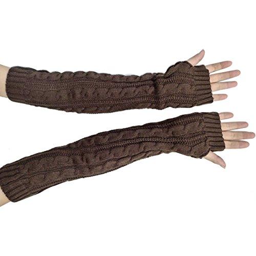 Butterme Frau Damen Wolle Extra lange Fingerless Handschuhe Dehnbar Armlinge Winter Wärmer Strick Handschuhe Gestricktes Fingerlose Armstulpen Fäustlinge (Wärmer Arm Handschuhe)