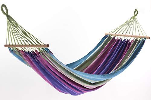 Jobek Orinocco Stabhängematte, Streifen Pastell, recycelte Baumwolle, 200 x 125 cm mit Stab für Outdoor und Garten - Die Brasilianische Holz-möbel