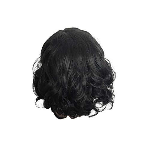 Center Straight Bar (Elecenty ♬♬ Short Perücken Straight Black Bar Night Club gewelltes Haar vorne Bobo Middle Score synthetische Perücke Haarersatz (1 pc, Schwarz))