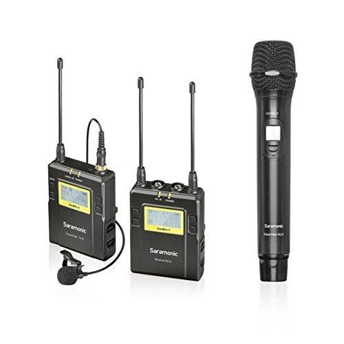 Saramonic UWMIC9sistema microfono senza fili UHF Lavalier + palmare con trasmettitore + Lav mic, palmare mic con trasmettitore, ricevitore, shoe mount, uscite XLR/3.5mm