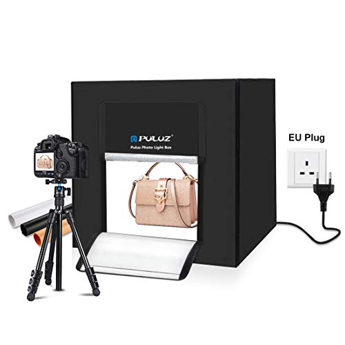 PULUZ Foto Studio Leuchtkasten Tragbar 80 x 80 x 80 cm Lichtzelt LED 8500K Mini 80W Fotografie Studio Zeltset mit 3 abnehmbaren Kulissen...