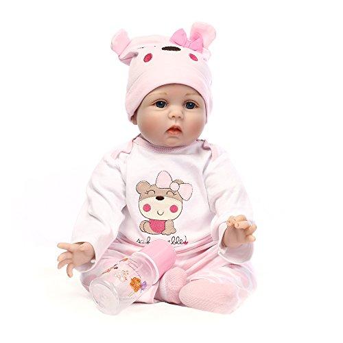 Decdeal Poupée Bébé Silicone Reborn Baby Doll avec les Cheveux Enracinés Vêtements Couche Nouveau-né Poupée Boneca 22 Pouces 55 cm Réaliste Fille Mignonne Cadeaux Jouet