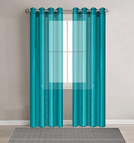 Occhiello in finta seta tende in voile per salotto–set di 2pannelli–trattamento finestra net sheer tull drapes, tessuto, teal, 54 x 102(total 108 width)