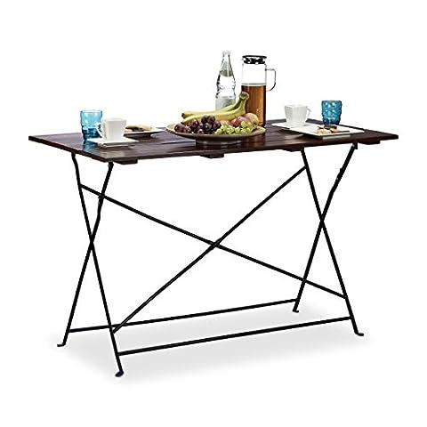 Relaxdays Table de jardin 120x60 cm pliante terrasse grande table pique nique pour 4 personnes service HxlxP: 75 x 120 x 60 cm, marron