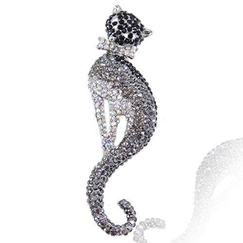 Flyonce Damen Österreichische Kristall Elegant Kätzchen Haustier Katze mit Bowknot Brosche Schwarz Silber-Ton