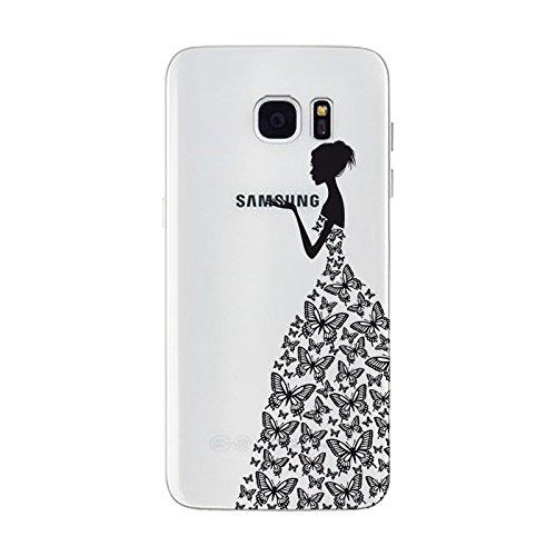 iPhone 6 plus Hülle, Schutzhülle Case Silikon- Clear Ultra Dünn Durchsichtige Backcover TPU Case für iPhone 6plus 6splus Schwarz-Schmetterlings-Mädchen
