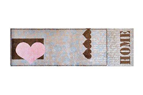LifeStyle-Mat 100482 Liebesherz Home, rutschfester und waschbarer Läufer, ideal für die Garderobe, Küche oder Schlafzimmer, 50 x 150 cm, braun / rosa