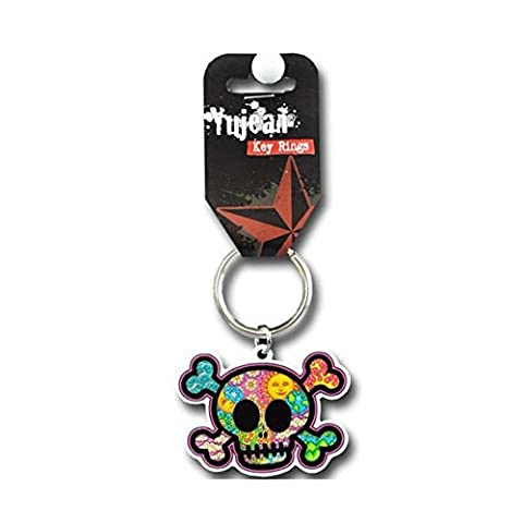 Dan Morris - Cute Skull with Celestial Images of Clouds, Waves, Hearts, Tribal Flames, Leaves, Flowers, & Mountains - Metal Porte-clés Keychain - 2