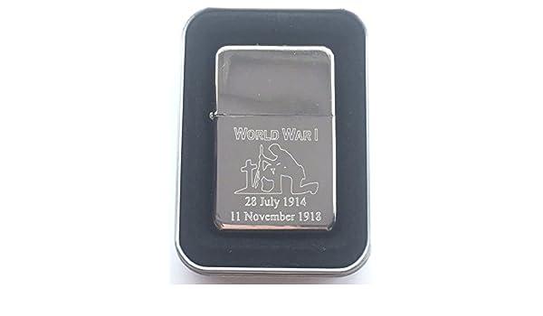 T148 Personalised WW1 Commemorative 100th Anniversary Silver Star Lighter