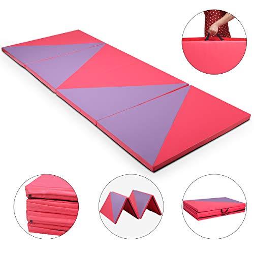 COSTWAY Weichbodenmatte 300 x 120 x 5 cm   Gymnastikmatte klappbar   Yogamatte verbindbar   Turnmatte groß   Klappmatte   Fitnessmatte Farbwahl (Lila/Rot)