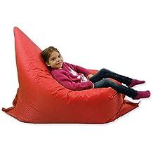 Puf grande para niños, ideal para jardín, adopta 6 forma, 100% resistente al agua, color rojo
