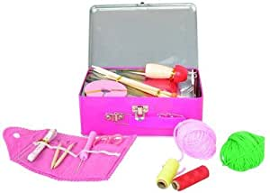Childrens Knitting Kit in a Pretty Pink Tin. Includes French Knitting Doll, Croche Hook, Childrens Knitting Needles, Pompom Making, Sewing Kit and Wool. Great Craft Kits for Girls