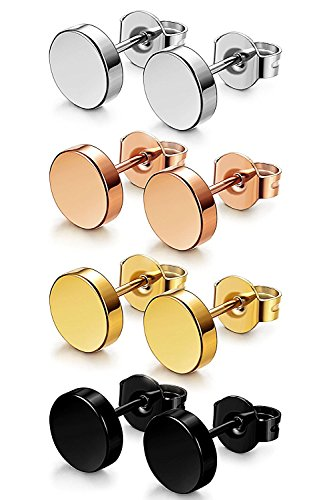 Sailimue 4 Pairs 3-8 MM Stainless Steel Stud Earrings for Women Men Ear Piercing Earrings