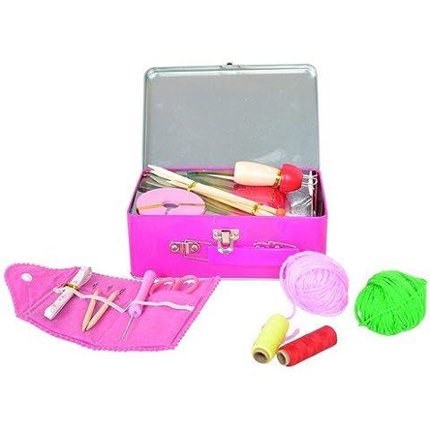MaMaMeMo - Kit per lavoro a maglia in comoda valigetta di metallo, include catarinetta, uncinetto, ferri, attrezzo per pompon, kit cucito e lana, ottimo per bambine, colore: Rosa