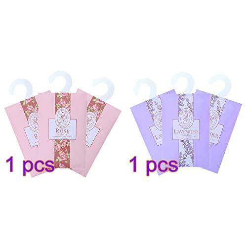 LIOOBO 6pcs Duftkissen hängen Duft Beutel Taschen Parfüm-Pakete Schuhschrank Deodorant für Schublade und Auto Schöne frische Duft - Rose und Lavendel -