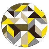 WSGZH Nordic Einfache Runde Teppich Moderne Garderobe Studio Wohnzimmer Schlafzimmer Studie Computer Stuhl Hängenden Korb Teppich Dreieck Muster (größe : Diameter-140CM)