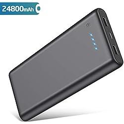 QTshine Batterie Externe, 24800mAh Power Bank Ultra-Grande Capacité Portable Chargeur 2 Ports USB Sortie Compatible avec iPhone, Huawei,Samsung Galaxy et Autres Smartphones