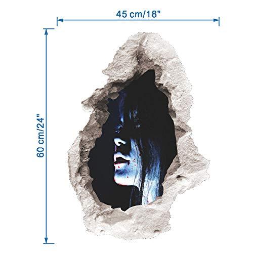 Halloween, Horroraufkleber, Zombie Frau 3D Look Wandtattoo 60 x 45 cm Wanddurchbruch Wandbild Sticker Aufkleber@4 (Halloween Für Zombie-look)