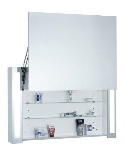 Spiegelschrank Galdem OPEN100 / Badezimmerschrank 100cm / 1 türig / mit Beleuchtung T5 Leuchtstofflampe / Ferrari-Schanier / Steckdose / Badezimmer Spiegel auch al - 2