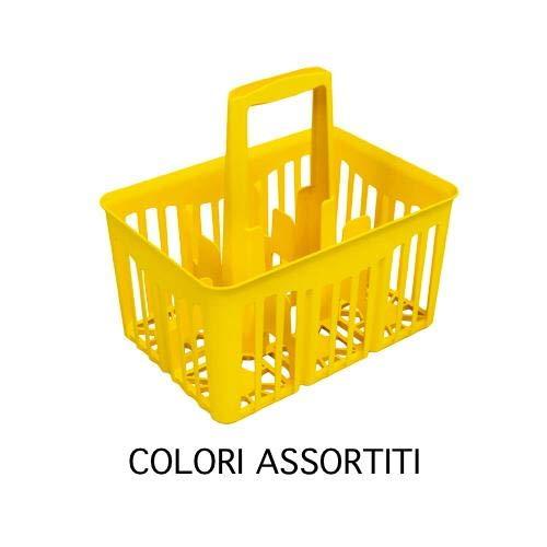 Stefanplast Cesta Cestello Portabottiglie 6Scomparti per Bottiglie da Lt.1 con Manico Rosso 1 lt