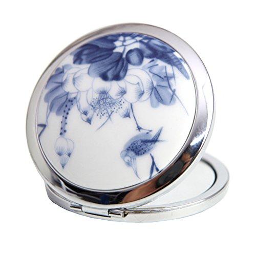 CYS Miroir de Poche Maquillage Original Plaint en Céramique, 2 Faces avec Normale et grossissant X2 pour Précision de Maquillage Motif de Fleur, Blanc