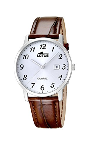 Lotus Men's Quartz Watch with White Dial Analogue Display and Brown Leather Strap 18239/2