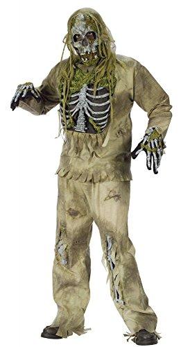 shoperama Skeleton Zombie Kostüm für Teenager und Herren Horror Halloween Totenkopf Tod Untoter, Größe:S/M
