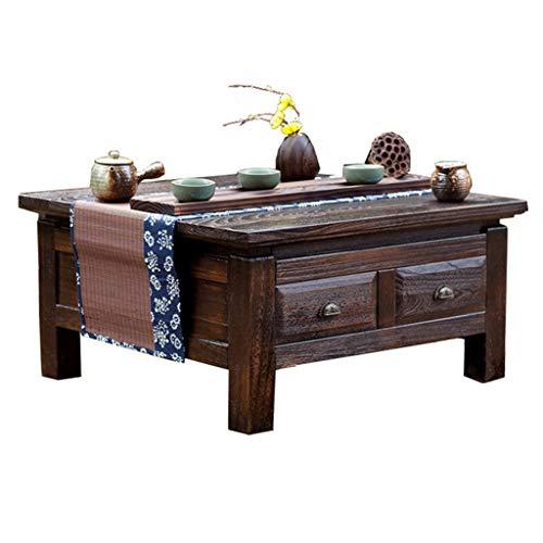 Tables Meubles Bureau Petite de Chambre à Coucher de thé en Bois de Paulownia en feu Japonaise avec tiroir carrée Basse à Usage Domestique (Color : Brown, Size : 65cm)