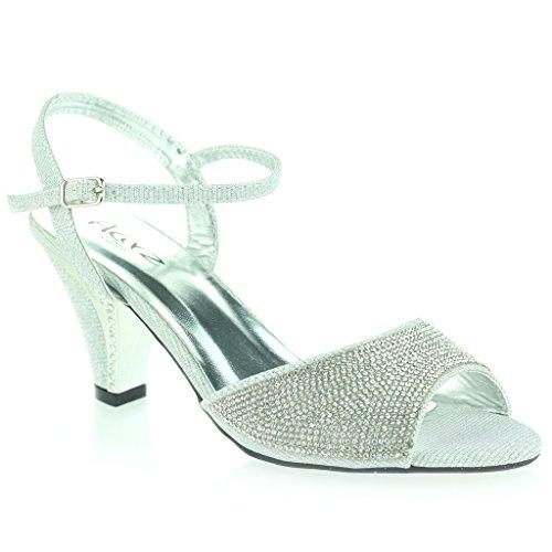 Femmes Dames Jeweled Kitten-Heel Pierres de Strass Clouté Diamante Soir Fête Mariage Bal de promo Des Sandales Chaussures Taille Argent