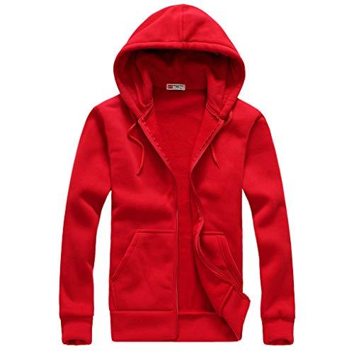 Xmiral Herren Outwear Mantel mit Kapuze Einfarbig Reißverschluss Sport Shirt mit Tasche Tunnelzug Slim Fit Wanderjacke(Rot,XL) -