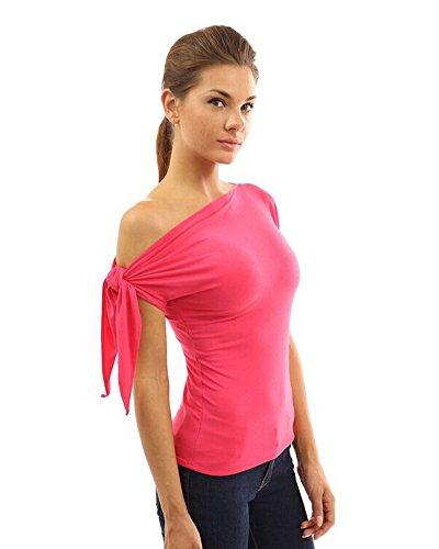 Moollyfox Senza Spalline T-shirt Stretto Una Spalla a Manica Corta Casual Moda Rose