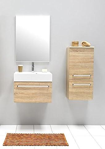 Badmöbel-Set mit Waschbecken Spiegel Unterschrank Hängeschrank Keramik Waschtisch Waschbeckenunterschrank 60