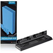 Indeca - Stand refrigerador con ventilador para Playstation 4 Slim (PS4), con cargador doble para mandos y doble puerto USB