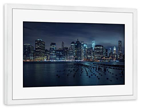 artboxONE Poster mit Rahmen weiß 60x40 cm New York by Night von Michael Adamek - gerahmtes Poster
