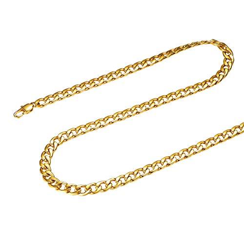 FOCALOOK Halskette für Männer Jungen 18k vergoldet Edelstahl Gliederkette 5mm massiv Panzerkette Halskette Punk Hip Hop Rapper Halsschmuck 45cm/18