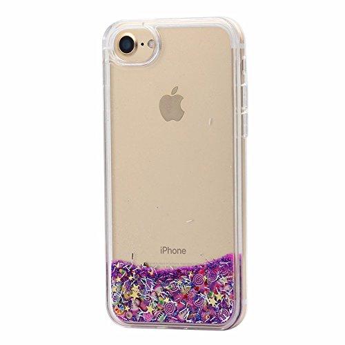 Cover liquido per apple iphone 6 e iphone 6s , keyihan ragazza donna trasparente chiaro custodia divertenti brillantini glitter bling liquid flowing case (caramella viola)