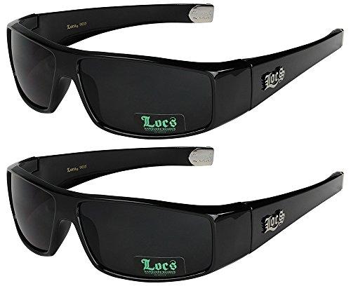2er Pack Locs Sonnenbrillen Motorradbrille Sportbrille Radbrille - 1x Locs 9035 schwarz und 1x Locs 9035 schwarz