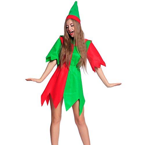 Kostüm Helfer Kleiner Santas - Anladia Sexy Weihnachtsmann Kostüm Kleiner Helfer Elfe Weihnachten Santa Damen Outfit