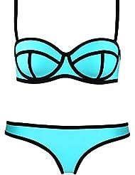 UUstar® Damen Push-Up Bademode Bikini Set Flirt Bandeau Tops und Neoprene Itsy Bottom (32 (S), Blau)
