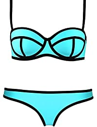 UUstar® Damen Push-Up Bademode Bikini Set Flirt Bandeau Tops und Neoprene Itsy Bottom (32 (S), Blau)