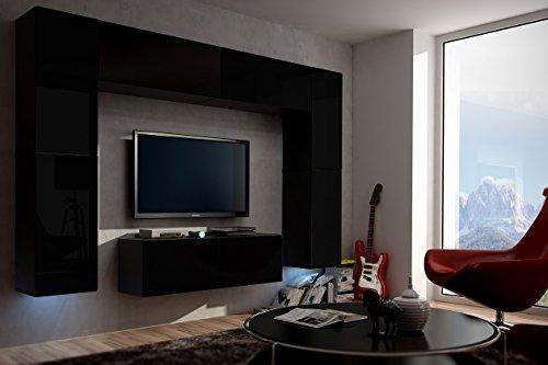 FUTURE 3 Zeitnah Wohnwand Wohnzimmer Möbelset, Anbauwand Schrankwand Möbel Set, Exklusive Unterhaltungseinheit Mit Regalen, Neue Suite, TV-Ständer / Schrank / Regal, Drücken Sie auf Öffnen / Standardgriff Wandschränke, Matte / Hochglanz, Schwarz / Weiß / Mehr Farben, Gratisversand (RGB LED Beleuchtung Vorhanden) (Schwarz MAT base / Schwarz MAT front, Möbel)