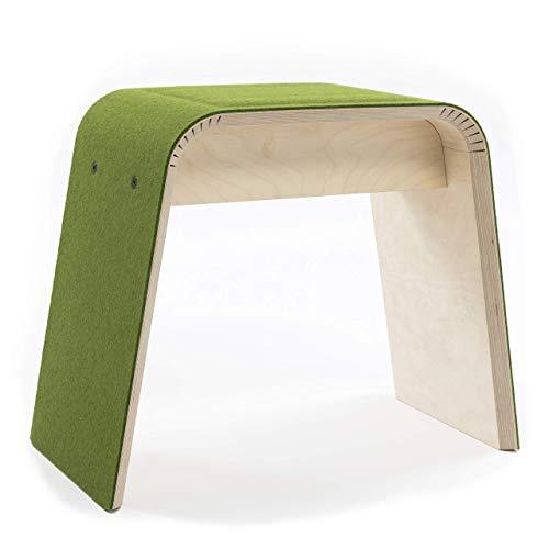 STADIG.stubenhocker Holz Hocker Filzhocker mit 100% Merino Wollfilz und Sitzpolster in #farn grün, aus Birkenschichtholz, Design und Herstellung in Deutschland, Sitzhöhe 45 cm -