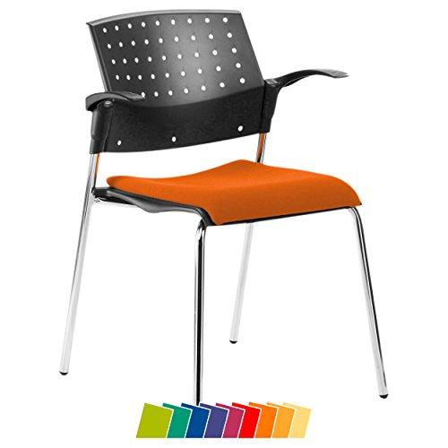 Sport-Tec Stapelstuhl mit Polster + Armlehne Besucherstuhl Holz Konferenzstuhl Bürostuhl